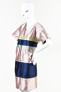 short dress Multi-Color Odeeh Pink Navy Green Paneled on Tradesy