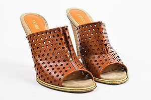 Fendi Perforated Cognac Mules