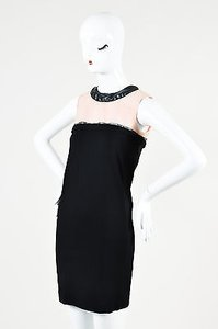 Balenciaga Rounded Neckline Cream Rubber Trim Sleeveless Dress