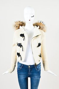 Burberry Brit Black Brown Wool Fur Trimmed Hooded Toggle Cream Jacket
