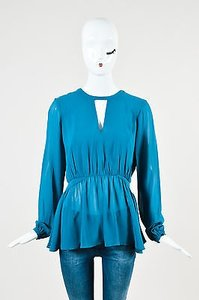 Rachel Zoe Blue Silk Ls Top Teal