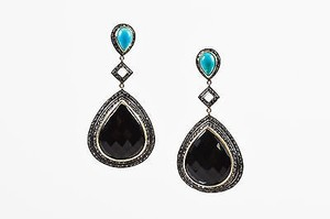 Other Sterling Silver 14k Gold Black Onyx Turquoise Diamond Drop Earrings