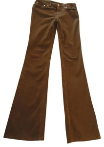 Tory Burch Corduroy Logo Flare Pants Brown