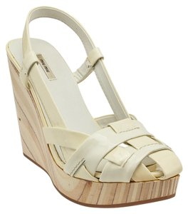 Miu Miu Patent Leather Platform White Wedges