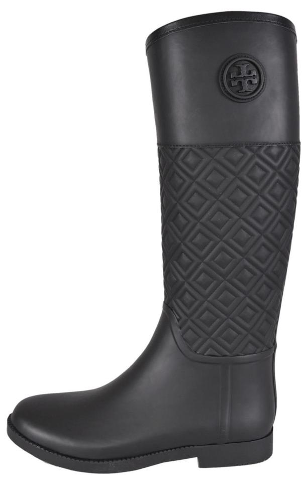 5156b4cd98c400 Tory Burch Black T Marion Quilted Rubber Logo Rain Boots Booties ...