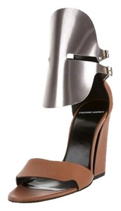 Pierre Hardy Block Heel Champagne Leather Leather Tan Sandals