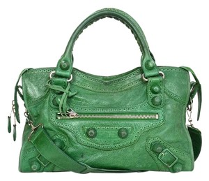 Balenciaga City Green Leather Perforated Shoulder Bag