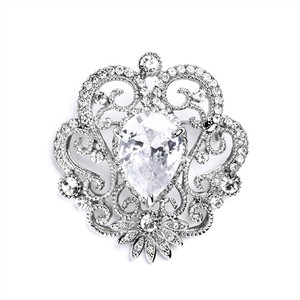 Mariell Silver Vintage Cubic Zirconia with Teardrop 4072p Vintage Cubic Zirconia with Teardrop 4072p Brooch/Pin