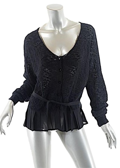 Item - Black W Cotton Blend Sweater W/Ribbon Trim Cardigan Size 10 (M)
