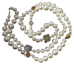 Tory Burch NEW TORY BURCH Crystal Pearl Long Necklace, Ivory/Gold