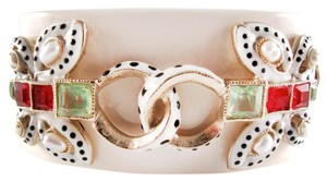 Chanel BUTTERFLY GRIPOIX PEARL BRACELET - NEW 2016 - WHITE GLASS CC CRYSTAL