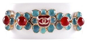 Chanel BRACELET - NEW - 2016 - GRIPOIX GLASS WHITE BLUE RED CC LOGO GOLD CUFF