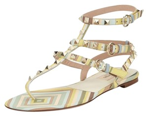 Valentino Green Yellow Biege Sandals