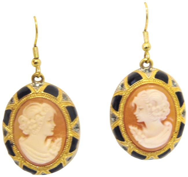 Item - Goldtone Nyc 25mm Art Deco Black Enamel and Crystal Cameo Earrings