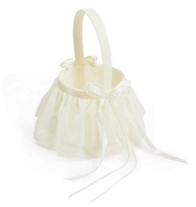 Brand New Draped Chiffon Ivory Flower Girl Basket