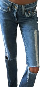 True Religion Ripped Flair Flare Leg Jeans-Distressed