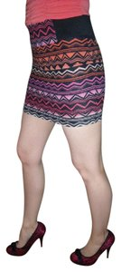 Charlotte Russe Ombre Geometric Zipper Stretchy Sexy Mini Skirt Multi-Color