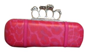 Alexander McQueen Knuckle Leather Skull Pink & Red Clutch