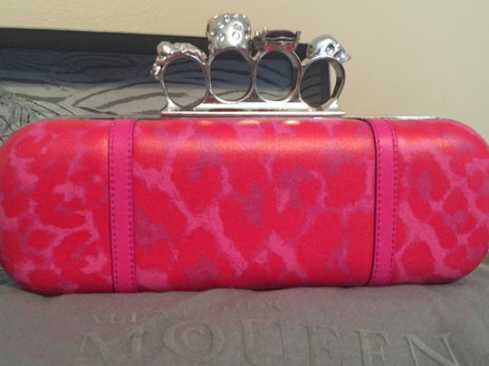 Alexander McQueen Knuckle Leather Skull Pink & Red Clutch Image 1