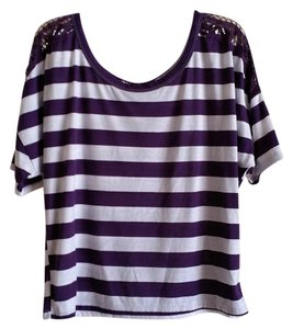 Rewind Boxy Crop Stripes T Shirt Purple/White