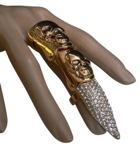 Other New Women Ring One Size Gold Long Finger Nail Rhinestones Metal Skulls