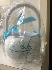 Brand New Flower Girl Basket White And Teal