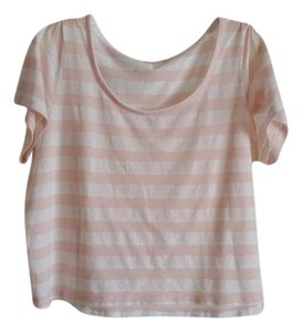 Charlotte Russe Lace Striped Pink Crop T Shirt Light Pink/Off White