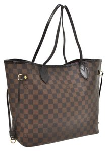 Louis Vuitton Neverfull Mm Damier Canvas Leather Neverfull Tote