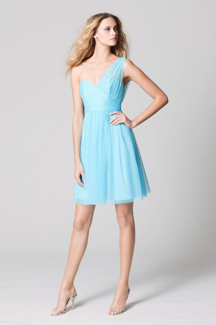 Wtoo Tiffany Blue Bobbinet Tulle Mesh 339 Bridesmaid/Mob Dress Size 10 (M) Wtoo Tiffany Blue Bobbinet Tulle Mesh 339 Bridesmaid/Mob Dress Size 10 (M) Image 1