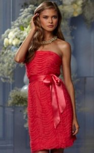 Wtoo Watermelon Poppy Bobbinet Tulle Mesh 439 Bridesmaid/Mob Dress Size 10 (M)