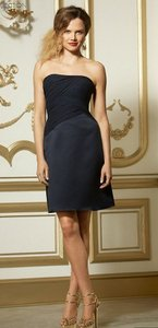 Wtoo Navy Blue Chiffon and Satin 575 Bridesmaid/Mob Dress Size 8 (M)