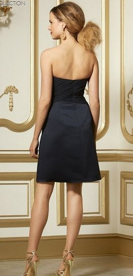 Wtoo Navy Blue Chiffon and Satin 575 Bridesmaid/Mob Dress Size 8 (M) Image 1