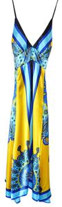 Rubber Ducky Productions, Inc. Blue Yellow Date Casual Dress