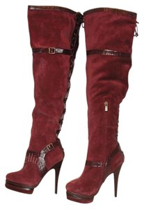 Colin Stuart Thigh High Suede Berry Boots