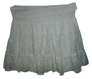 Joe Benbasset Tiered Lace Boho Hippie Mini Skirt White
