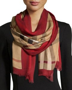 Burberry Haymarket Check Modal and Cashmere Scarf Red Size L