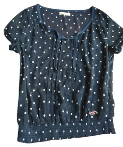 Hollister Top Navy white polka dots