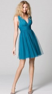 Wtoo Teal Bobbinet Tulle Mesh 333 Bridesmaid/Mob Dress Size 8 (M)