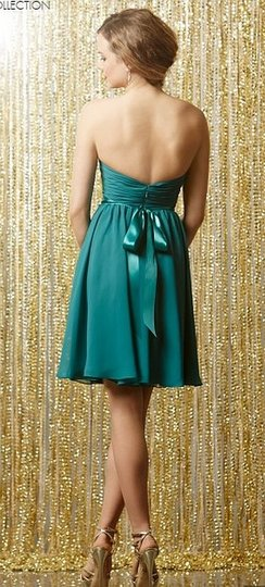 Wtoo Peacock Jade Ribbon Chiffon 595 Bridesmaid/Mob Dress Size 8 (M) Image 1