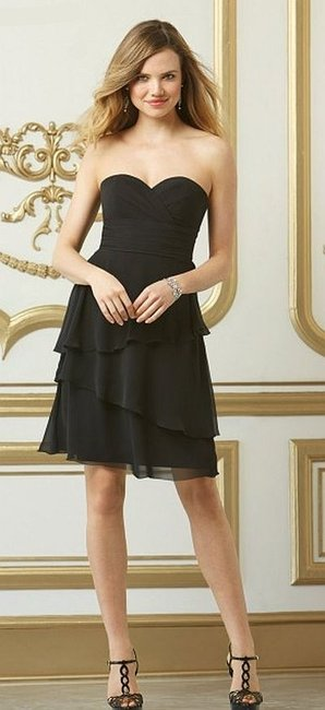 Wtoo Black Chiffon 554 Bridesmaid/Mob Dress Size 10 (M) Wtoo Black Chiffon 554 Bridesmaid/Mob Dress Size 10 (M) Image 1