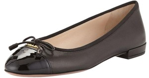 Prada Ballerina Flat Patent Leather Black Flats
