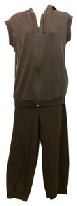 Burberry BURBERRY DARK BROWN COTTON BLEND HOODIE PANT SET S M