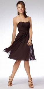 Wtoo Cognac Brown Chiffon 985 Bridesmaid/Mob Dress Size 12 (L)