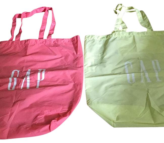 Item - Set Of 2 Shopping Bags Each Chartreuse and Coral Nylon Tote