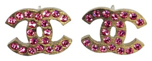 Chanel #8292 CC Pink crystals mini on Silver hardware pierced stud earrings