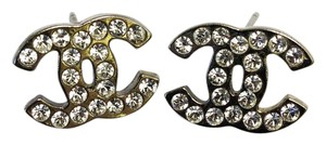 Chanel #8293 CC clear crystals mini on Silver hardware pierced stud earrings