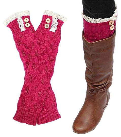 Other Pink Sweater Knitted Lace Top Button Down Leg Warmer Boot Topper Image 1