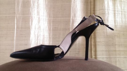 Narciso Rodriguez Leather Slingback Ankle Wrap Vintage Black and White Pumps
