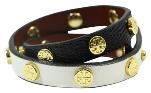 Tory Burch Tory Burch Leather Double Wrap Logo Stud Bracelet Multicolor