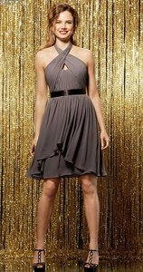 Wtoo Falcon Gray - Black Ribbon Chiffon 551 Bridesmaid/Mob Dress Size 10 (M)